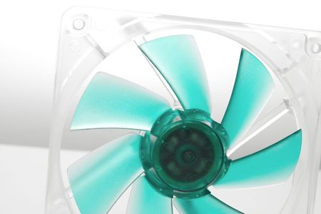 airflow: Computer case cooling fan on bright background