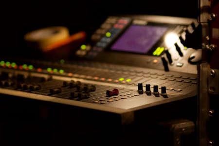 Soundboard mixer at a concert, shallow focus Banco de Imagens