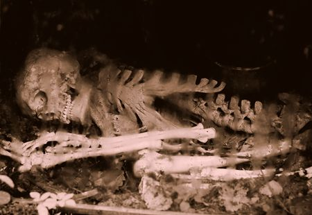 Remains of a human skeleton underground