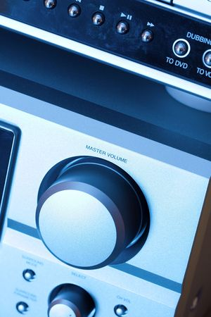 master volume: detail of a hi-fi system in blue tone Stock Photo