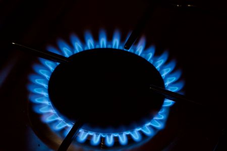 Flame of the gas burner of a stove photo