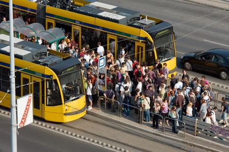 Budapest, 2009: crowd of students tries to get on the tram after near the university Editorial