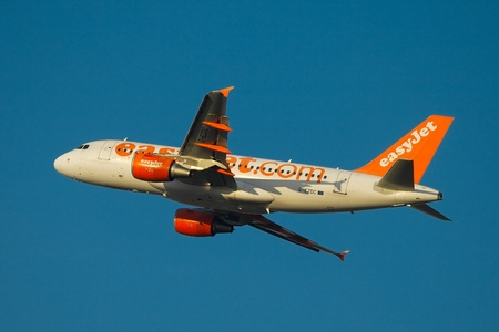BUDAPEST, HUNGARY - APRIL 11, 2011: Airliner of EasyJet low-cost airline is departing from Budapest (LHBP)