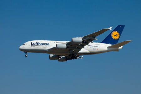 BUDAPEST - OCTOBER 02: Lufthansa Airbus A380 airliner on final approach on October 02, 2011 in Budapest. The A380 is currently the largest passenger airliner. This new one is the 8th in Lufthansas fleet. It is the first time an A380 lands at Budapest Lis