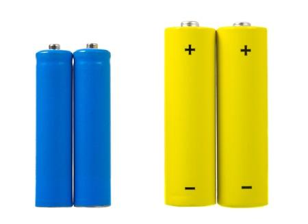 aaa: AA and AAA sized batteries Stock Photo