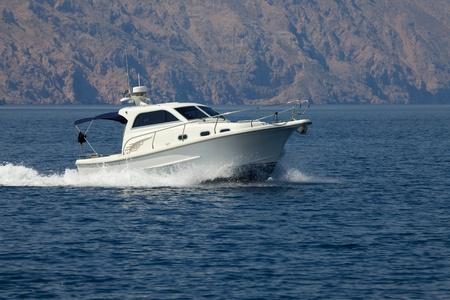 speedboat: Boat cruising on the sea Stock Photo