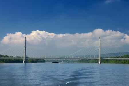 megyeri: Highway bridge over a river Stock Photo