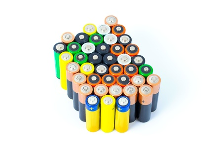Many AA sized batteries on white photo