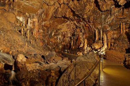 Limestone formations inside a cave photo