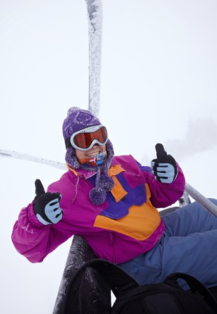 Female skier portrait, cold weather photo