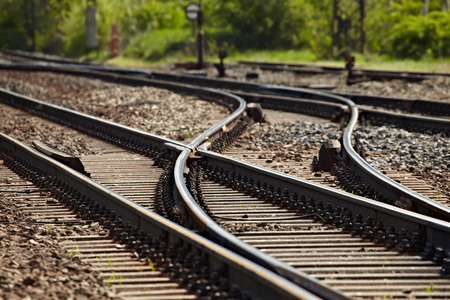 rail route: Rails and switches of a railroad line