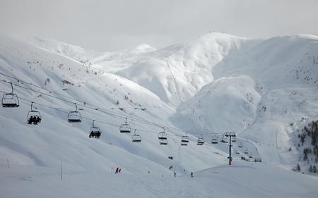 Ski slope in cold weather photo