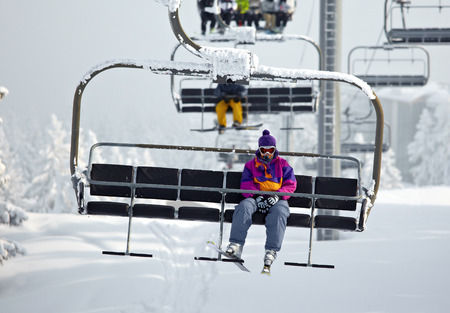 Chairlift on a ski resort photo