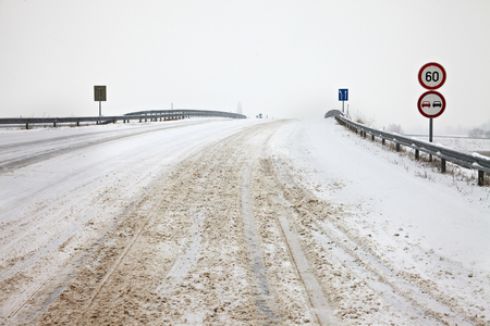 icy conditions: Main road after heavy snowfall