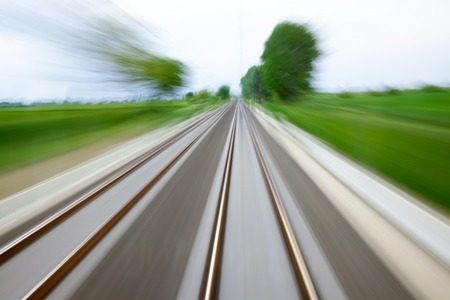 Railway tracks with high speed motion blur photo