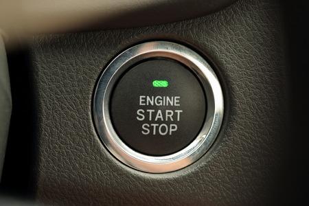 start button: Engine start stop button of a car