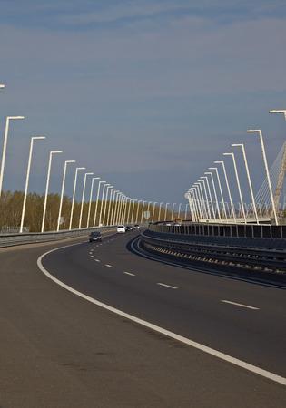 megyeri: Highway over a bridge with little traffic