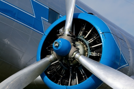 airscrew: Engine of an old aircraft Stock Photo