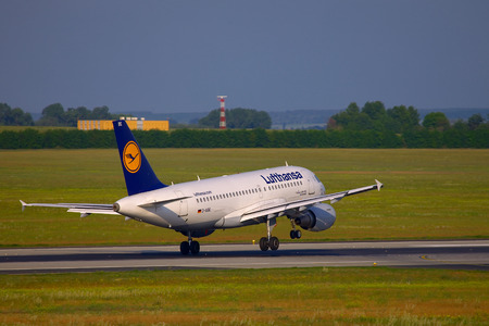 liszt: BUDAPEST, HUNGARY - MAY 5: Lufthansa A319 crosswind landing at Budapest Liszt Ferenc Airport, May 5th 2012. Lnding in stong crosswind is a challenging task. Editorial