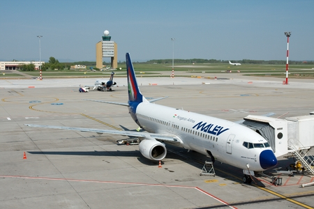 ceased: BUDAPEST, HUNGARY - MAY 02: Malev Hungarian Airlines Boeing 737 ground handling MAY,02 2009. Malev ceased all flying activity on 3 February 2012, after 66 years of service . Editorial