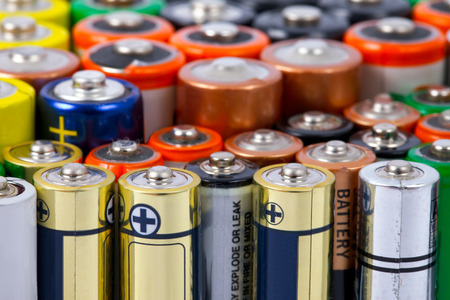 simple meal: Many AA sized batteries on white