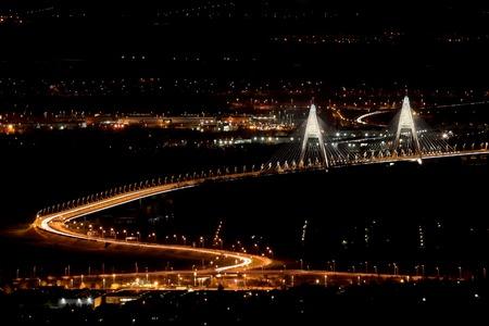 Highway bridge with night light photo