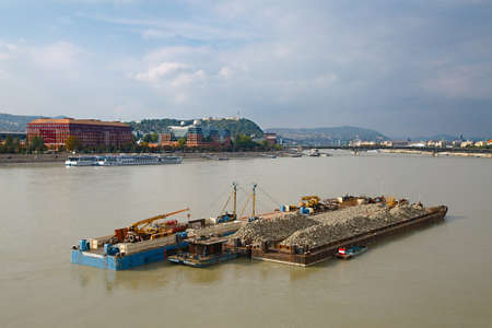 Cargo transportation on the river Danube photo