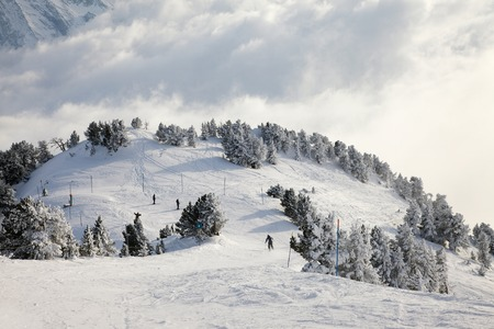 Skiing slope in the French Alpes photo