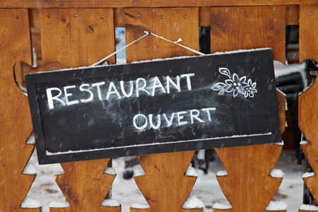 Sign at the entrance of a restaurant Stock Photo - 23531836