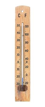 Thermometer isolated on white showing cold, winter temperature photo