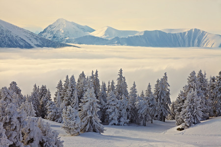 High mountain range in winter photo
