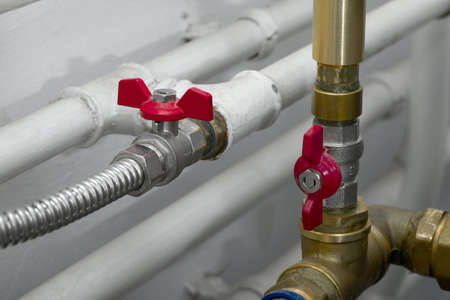 Pipes of a heating system Stock Photo