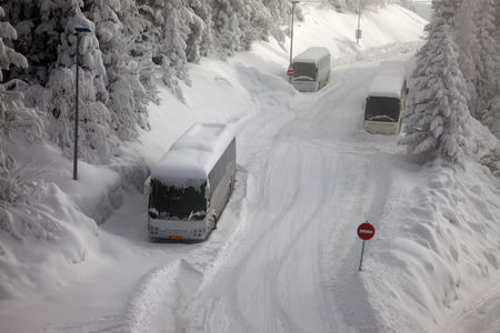 difficult journey: Main road after heavy snowfall
