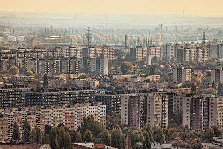 budapest: View over a suburban area with big blocks of flats Stock Photo