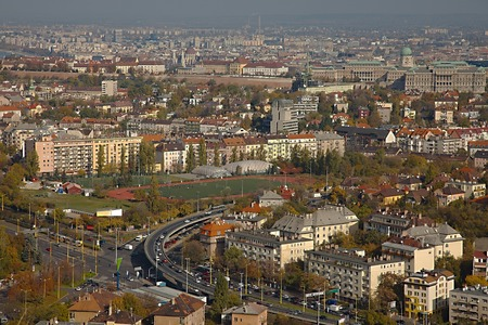 City view over Budapest from a high viewpoint photo