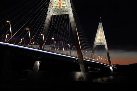 megyeri: Highway bridge with night light