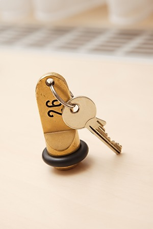 soft sell: Hotel room key on a table