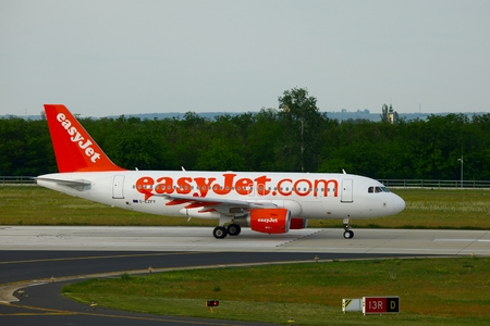 liszt: BUDAPEST, HUNGARY - MAY 5  EasyJet A319  taxiing at Budapest Liszt Ferenc Airport, May 5th 2012  Easyjet is the second largest low-cost airline of Europe  Editorial