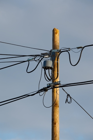 Many cables of electric lines photo
