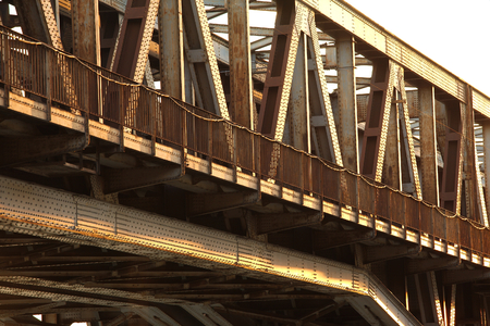 corrode: Rusty metal structure of a railway bridge Stock Photo