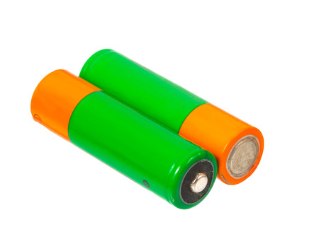 A pair of AA size batteries on white background photo