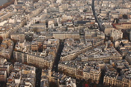 bird eye view: View over Paris from above