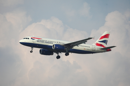 liszt: BUDAPEST, HUNGARY - MAY 5: British Airways A320 approaching Budapest Liszt Ferenc Airport, May 5th 2014. British Airways if the flag carrier airline of the United Kingdom.