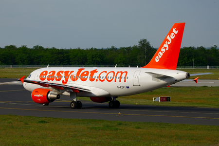 liszt: BUDAPEST, HUNGARY - MAY 5: EasyJet A319  taxiing at Budapest Liszt Ferenc Airport, May 5th 2012. Easyjet is the second largest low-cost airline of Europe.