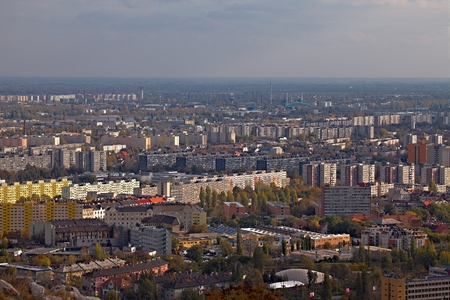View over a suburban area with big blocks of flats photo