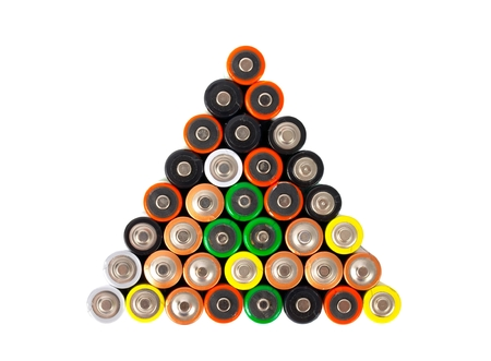 aa: Many AA sized batteries on white