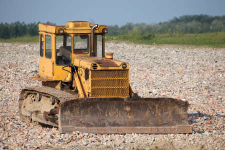 decadence: Old dozer at a construction site