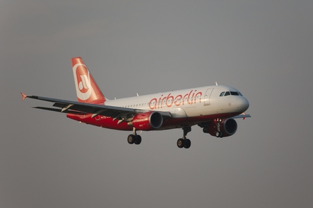 liszt: BUDAPEST, HUNGARY - APRIL 7  Airberlin airliner approaching Budapest Liszt Ferenc Airport, April 7th 2014  Airberlin is Germany Editorial