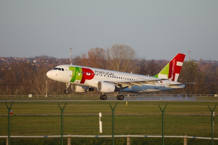 liszt: BUDAPEST, HUNGARY - MAY 5  TAP Portugal Airlines airliner landing at Budapest Liszt Ferenc Airport, May 5th 2014  TAP is Portugal
