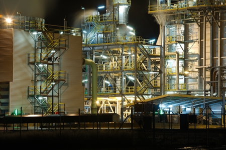 carbondioxide: Power plant structure detail at night